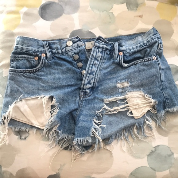 """Free People """"we the free"""" distressed Jean shorts"""